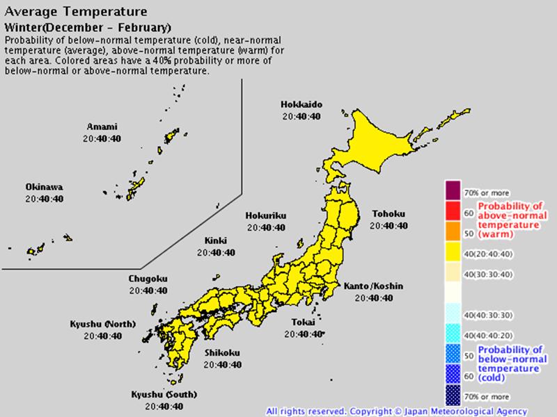 japan temperature forecast winter 2019-20