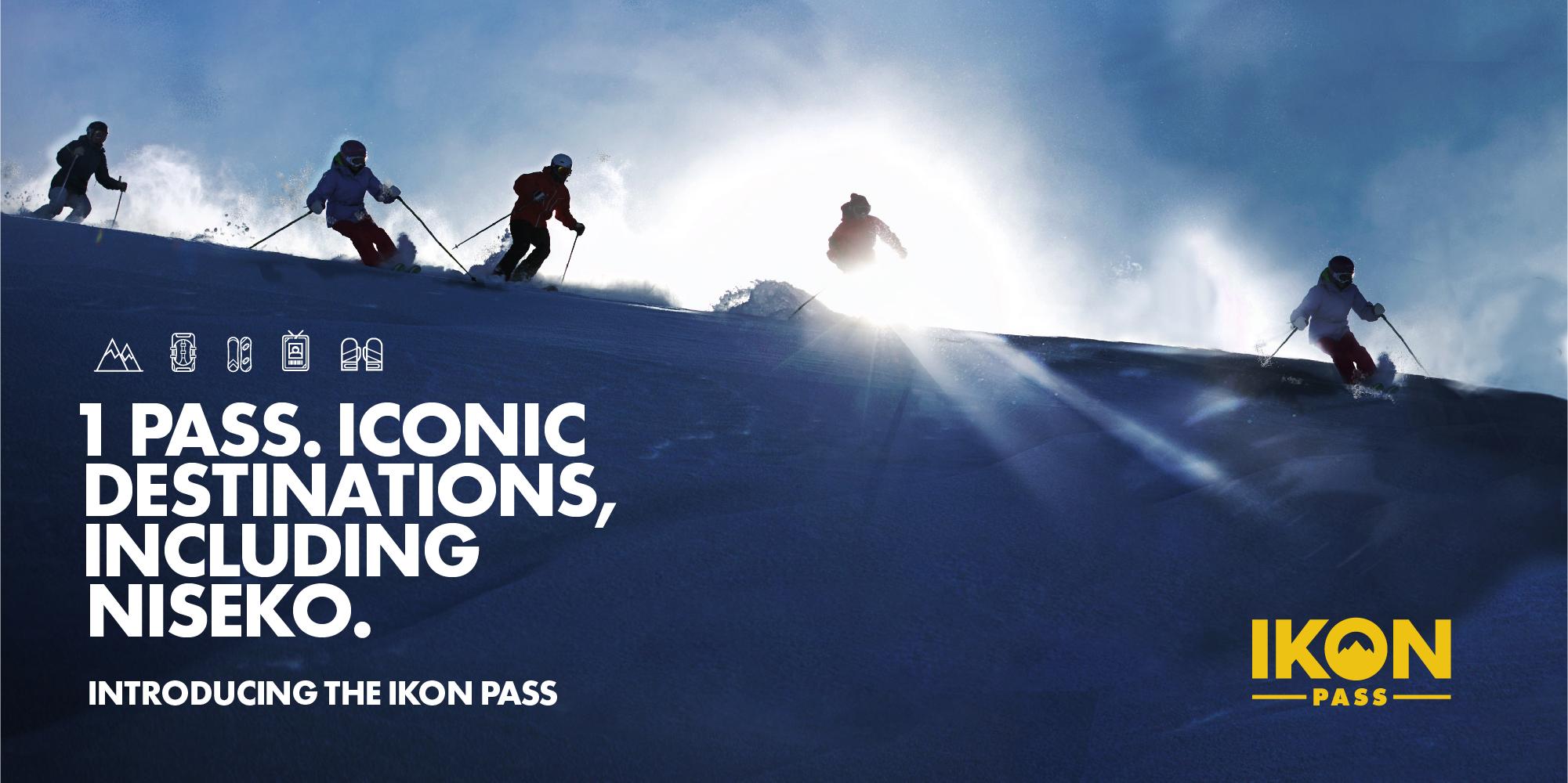 IKON Passを使ってニセコでスキーを楽しむ人々